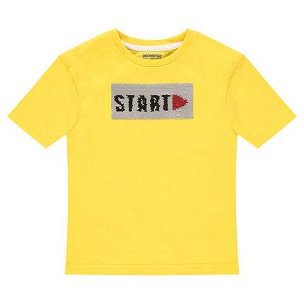 Camiseta amarilla de manga corta y punto con mensaje de lentejuelas mágicas