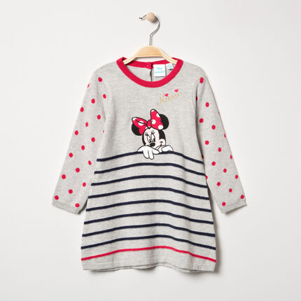 Vestido de manga larga de punto con dibujo de Minnie Disney y rayas