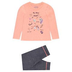 Pijama con camiseta estampda y pantalón de muletón gris jaspeado
