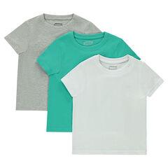Lote de 3 camisetas lisas de manga corta de jersey