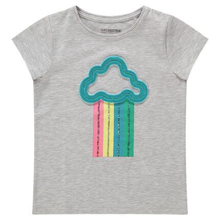 Camiseta de manga corta de punto con dibujo de fantasía de relieve