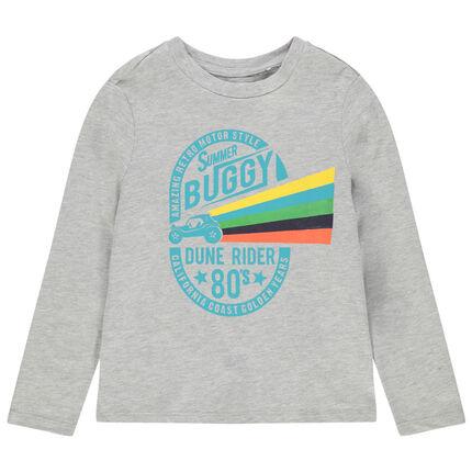 Camiseta de manga larga de algodón ecológico con estampado de fantasía por delante