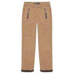 Pantalón de sarga con bolsillos con cremalleras