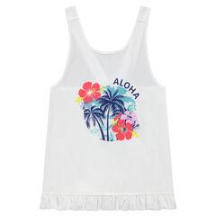 Júnior - Camiseta con estampado tropical y tirantes que se cruzan en la espalda