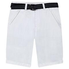 Júnior - Bermuda blanco de algodón de fantasía con cinturón extraíble