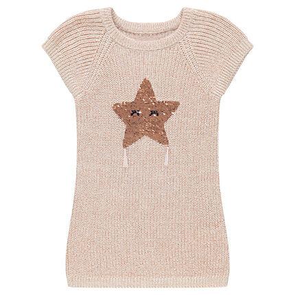 Vestido de manga corta de punto con estrella de lentejuelas mágicas