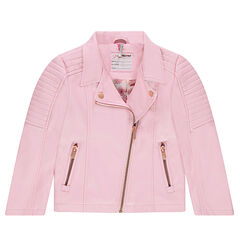 387a1a16c Perfecto de cuero de imitación rosa con bolsillos con cremallera