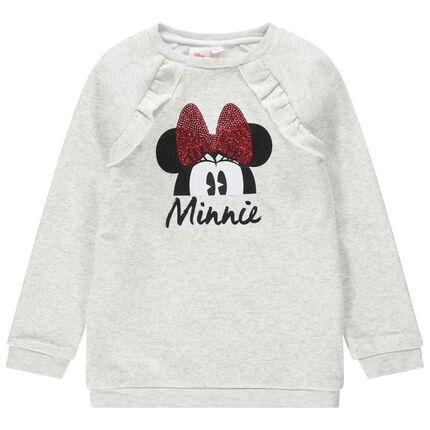 Sudadera de felpa jaspeada con estampado de Minnie Disney con lazo de lentejuelas