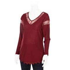 Camiseta de manga larga de premamá con detalles de encaje.