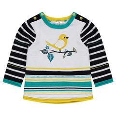 Jersey de punto con rayas de jacquard y pájaro bordado