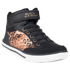 Zapatillas de deporte de caña alta con cordones con sujeción mediante elástico con leopardo US Marshall de color negro