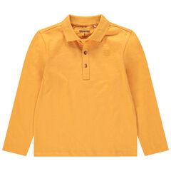 Polo de manga larga de algodón ecológico con cuello con botones y logo estampado