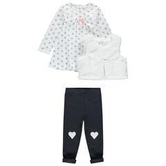 Conjunto de túnica con estampado de corazones, chaqueta de borreguillo y pantalón liso