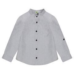 Camisa en algodón de fantasía con cuello mao