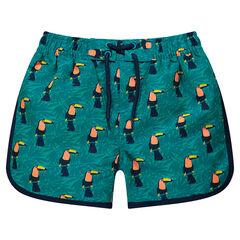 Pantalón corto de baño con tucanes estampados sobre fondo vegetal