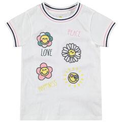 Camiseta de manga corta con flores de lentejuelas ©Smiley