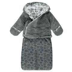 Buzo con capucha de tela sherpa y de chambray con estampado de gato