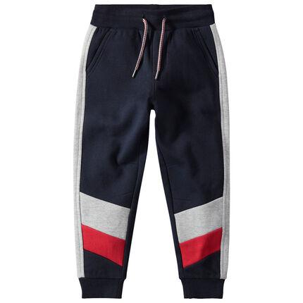 Pantalón de chándal de felpa con franjas en contraste