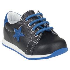 Botas bajas con cordones de cuero con detalle de estrella