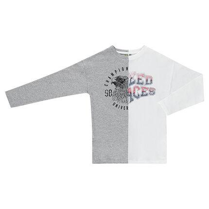 Júnior - Camiseta de punto de manga larga bicolor de punto con estampado