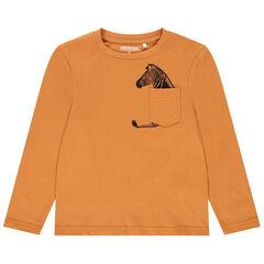 T-shirt manches longues en coton à poche ludique pour enfant garçon , Orchestra