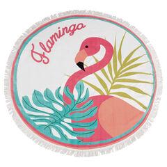 Toalla de playa redonda con flamenco rosa y flecos