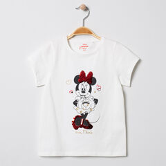 T-shirt manches courtes en coton print Minnie à sequins Disney , Orchestra