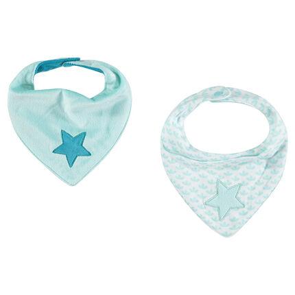 Lote de 2 baberos en forma de bandana con estrellas con bordado