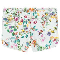 Pantalón corto con estampado de flores