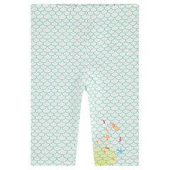 Leggings cortos de punto con escamas all over y estampado de fantasía