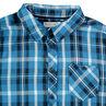 Camisa de manga larga de cuadros azules y bolsillo