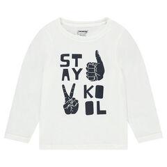 Júnior - Camiseta de punto de manga larga con mensaje y manos estampadas