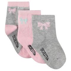 Juego de 3 pares de calcetines variados con lazo de jácquard