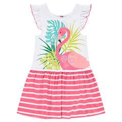 Vestido con volantes y flamenco rosa de rayas estampadas