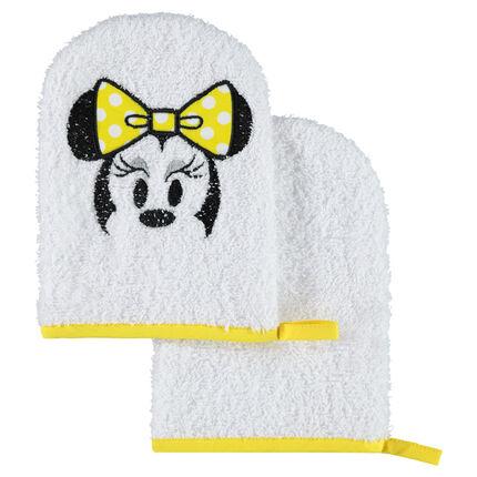 Juego de 2 manoplas de baño de rizo Disney con motivo de Minnie bordado