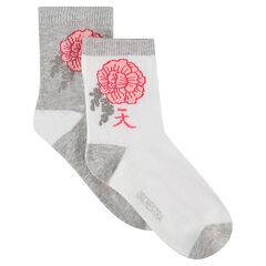 Júnior - Juego de 2 pares de calcetines con flores de estilo japonés de jacquard