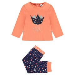 Pijama largo de algodón y estampado de estrellas