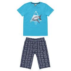 Junior - Pijama corto de jersey con tiburón estampado