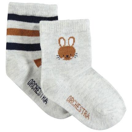 Juego de 2 pares de calcetines variados con conejo y rayas de jácquard