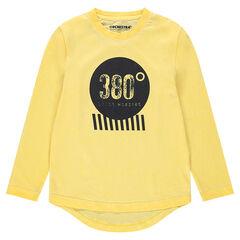 Júnior - Camiseta de manga corta de punto amarillo con estampado