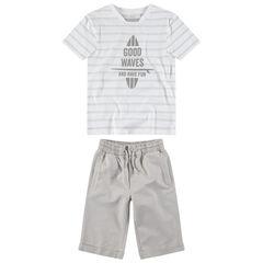 Júnior - Conjunto de camiseta de manga corta de rayas y bermudas lisas