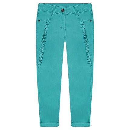 Pantalón de raso de algodón azul turquesa con motivos bordados