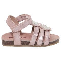 Sandalias de cuero rosa brillante con parches de flores