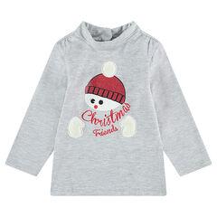 Camiseta con cuello subido y muñeco de nieve brillante