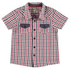 Camisa de manga corta de cuadros con detalles de chambray