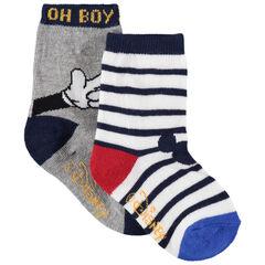 Juego de 2 pares de calcetines de Mickey de rayas/lisos