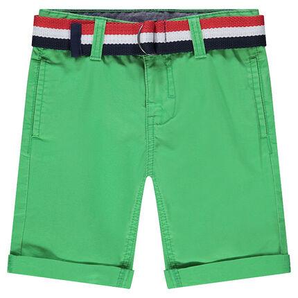 Bermudas de algodón teñido con cinturón tricolor