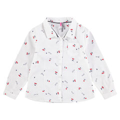 Camisa de manga larga con estampado de cerezas all-over
