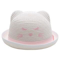 Sombrero de efecto paja con orejas en relieve y detalles bordados