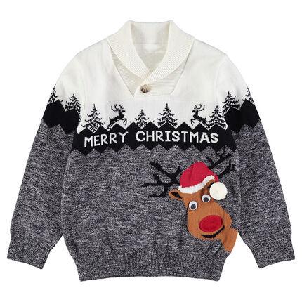 Jersey de punto de Navidad con reno y cenefa de jacquard